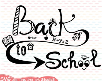 Back to School Silhouette SVG Cutting Files Digital Clip Art Graphic Studio3 cricut cuttable  Die Cut Machines Welcome School education 40sv