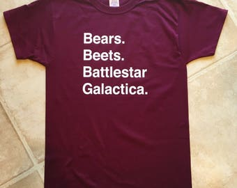Bears. Beets. Battlestar Galatica. tshirt / the office