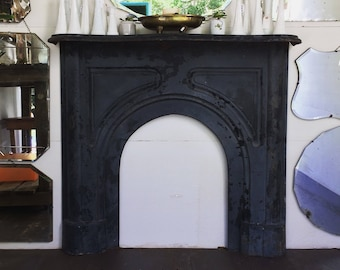1800's cast iron fireplace mantel fireplace surround fireplace cover country french home decor farmhouse decor antique mantel