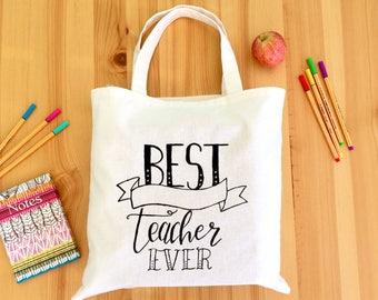 Teacher gift - Teacher tote bag - Personalised Best Ever Teacher Tote Bag