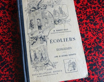 """Book old school - reading - book """"boys and girls"""" French school textbook 1892"""