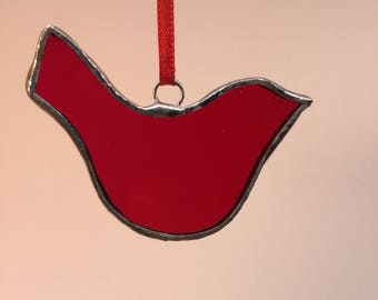 Red Bird - Simple Stained Glass Christmas Ornament
