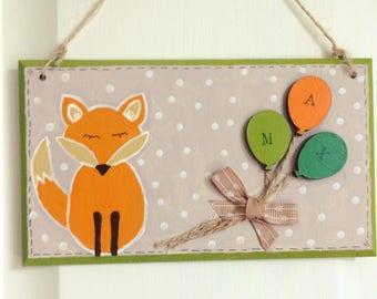 Hand painted fox bedroom door sign plaque personalised