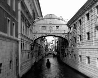Venice Canals Black and White Fine Art  Print,  Landscape Photography Print, Art Print, Gondolas  Decor, Architecture of Venice