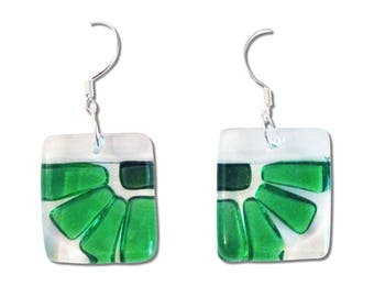 Fused Glass Flower Square Earrings. Fun, Unique and Cute earrings, Beautiful Green or Lime Green Colorful Earrings