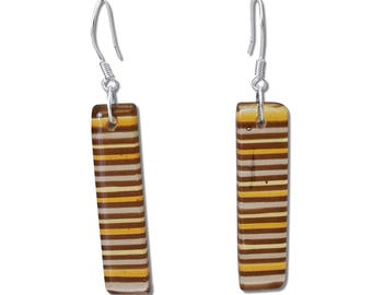 Colorful Stripes Fused Glass Rectangular Earrings, Colorful Earrings, Dangle Bar Earrings, Amber, Brown, Black or White Earrings