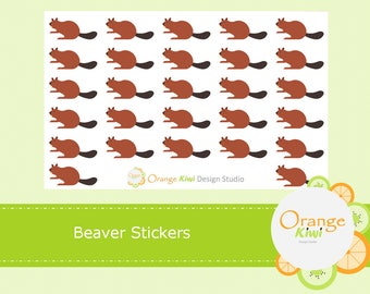 Beaver Stickers, Animal Stickers, Planner Stickers, Forest Animals