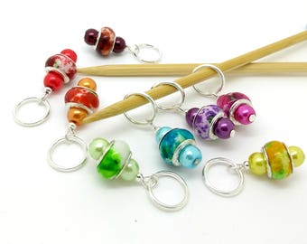 Rainbow stitch markers - multi colour place holders - lightweight stitch markers - place holders for knitting or crochet