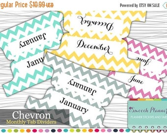 50% OFF SALE Planner Dividers - 12 Monthly Tab Dividers - Chevron | Planner Tabs | Custom Dividers | Monthly Planner | Custom Divider Tabs