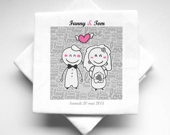 10 napkins wedding personalized character design fabric