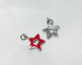 2 charms star - red - enamelled metal 12 x 12 mm