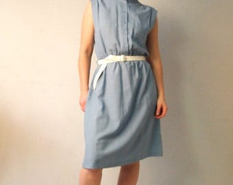 ON SALE Vintage 70's Dress Grey blue Sleeveless Shirt Dress Midi Sheath dress High collar Dreamy mandarin collar