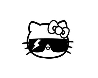 Hello Kitty Lady Gaga Vinyl Sticker Decal bad romance glasses paparazzi 146