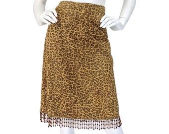 Vintage Clothing, Suede Skirt M, Fringe Skirt, Boho Skirt, Leopard Print Skirt, Cheetah Print Skirt, Beaded Skirt, Leather Skirt, SIZE M 8