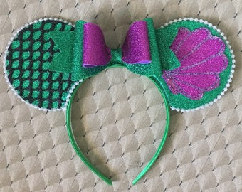 Ariel mouse ears! Little mermaid mouse ears! Minnie mouse ears! / disney ear
