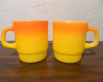 Set Of Vintage Fire King Mugs