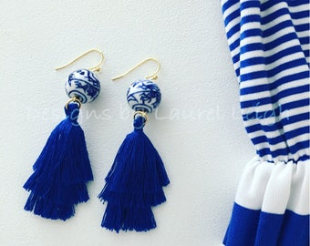 Chinoiserie Tassel Earrings | ROYAL BLUE, stacked, tiered, blue and white, gold, Chinese, statement earrings