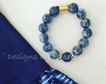 Blue and Gold Beaded Bracelet |gemstone, sodalite, stretchy, Designs by Laurel Leigh
