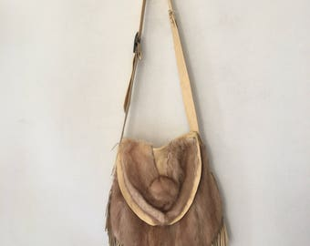 Steep women's bag from real mink fur and recycling leather handmade bag new collection with fashionable leather fringe has size-big.