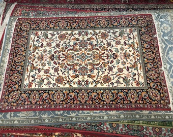 Fairy carpet rug 100% wool floral pattern brown blue beige and black color warm vintage rug old small retro perfect for home & restaurant.