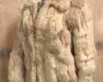 Beautiful and soft beige rabbit fur coat woman size small .