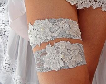 Something Blue Bridal Garter, White Blue Garter, Blue Bridal Gerter, Wedding Garters, White Lace Garter, White Applique Garter, Blue Wedding