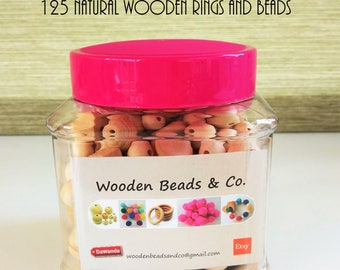 KIT Material 125 pieces - Wooden beads KIT 125 pieces-Kit for lactancia-Material for chupeteros-Nursing necklaces necklaces DIY Kit