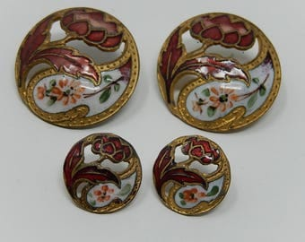 Four enameled button XIXth diameter: 2,2 cm and 1,2 cm, free shipping!