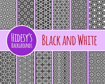 Digital Paper in Black and White Geometric Patterns / Backgrounds Commercial Use Backgrounds