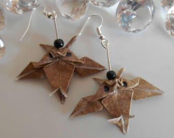 Brown OWL origami earrings black pearls