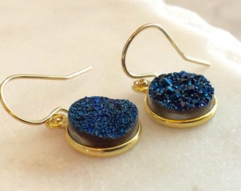 Druzy Earrings Gold Earrings Minimalist Earrings Bridesmaid Gift for Her Sapphire Earrings Dainty Earrings Gold Earrings Birthday Gift