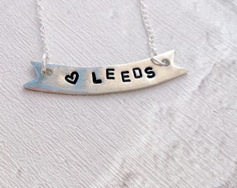 Love Leeds Banner Necklace, Hand Stamped, Pewter