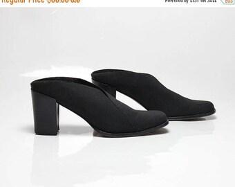 FLASHSALE 40% OFF vtg 90s black fabric minimalist structural mules clogs slides 8