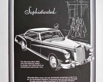 1958 Mercedes Benz 300d ad.  1958 Mercedes Benz ad.  Vintage Mercedes Benz 300d sedan ad.  Mercedes Benz 300d.  Studebaker-Packard.