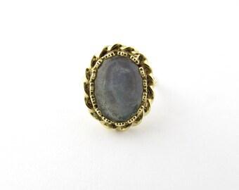 Vintage 14 Karat Yellow Gold Moonstone Ring Size 6.5 #2156