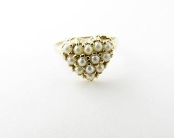 Vintage 14 Karat Yellow Gold and Pearl Heart Ring #2373