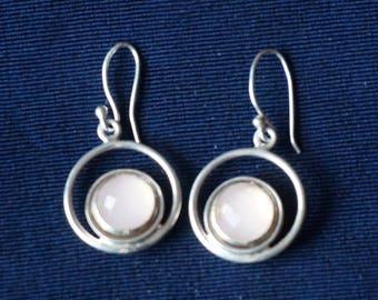 Vintage, Elegant, Sterling Silver Earrings with pink rose quartz 11mm diameter, rose cut sterling silver stud earrings pair