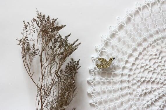 Vanda - Bird - Bird - brooch - Handmade - soft Cactus