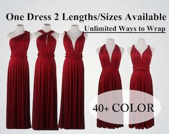Wine Red Bridesmaid Dress,Convertible wrap Dresses,Knee-length dress,Infinity Dress,Multiway Wrap Dress, twist wrap dress Short