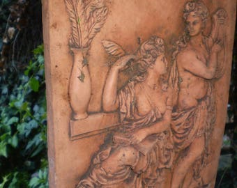 Architectural Salvage,Vintage French Grecian Style Terracotta Garden Courtyard Wall Plaque