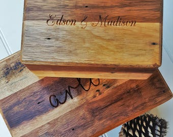 Recycled Wood Wedding Box  / Personalised Box / Keepsake Box / Memory Box