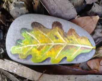 Leaf on a pebble