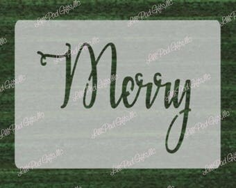Merry - 8.1x5.8 - TO MATCH Christmas 10.5x3.5 stencil -  Re-usable stencil