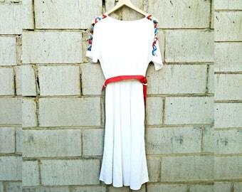 Vintage Dress - 80's Vintage - Summer Dress - White - Summer Vintage