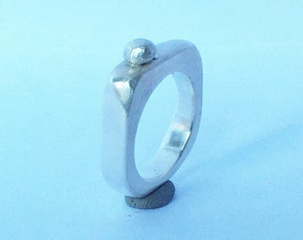 Ring smooth silver, silver ring,