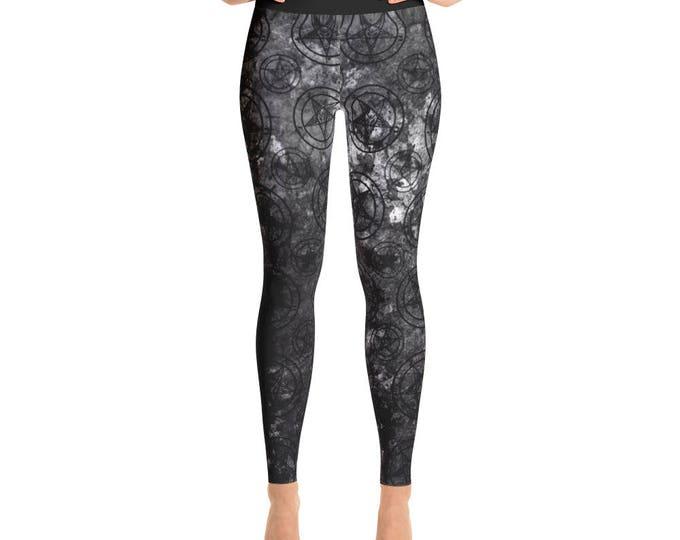 Grey Splatter Baphomet Yoga Pants