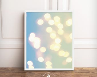 Bokeh, Photography, Instant Download, Abstract photography, printable poster, blue, yellow, wall art, digital download