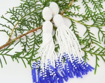 Beaded tassel earrings White blue beaded earrings Long beaded tassel earrings Oscar Fashion earrings Ombre beaded tassel
