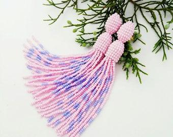 Beaded tassel earrings Pink blue bead earrings Long beaded tassel earrings Oscar Fashion earrings Bright earrings Beadwork jewelry