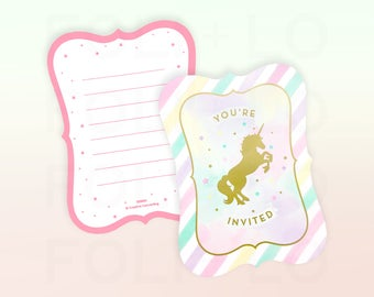 UNICORN Invitation | Rainbow Party Invitation | Gold and Pastel Invitation | Birthday Party Invitation | Set of 8